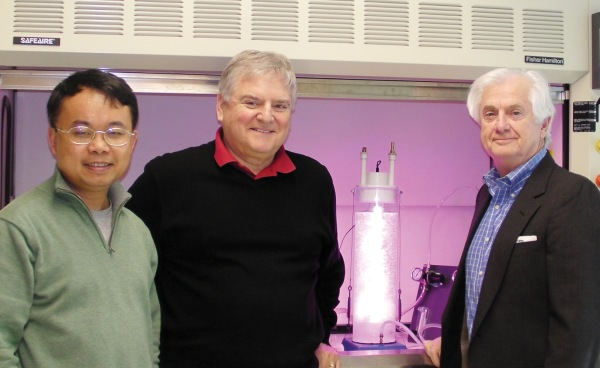 Pictured, from left to right: Feng Chen, Associate Professor, UMCES; Bob Mroz, President and CEO, HY-TEK Bio; Jack French, Vice President, HY-TEK Bio.