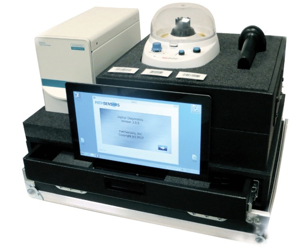 PathSensors Inc. develops pathogen detection systems (pictured) for bio-security and agriculture/food processing applications. The company's products deliver extremely rapid detection of more than 25 pathogens at previously unattainable levels of speed and sensitivity. Through the MIPS program, PathSensors collaborates with Dan Schulze, associate professor, department of microbiology and immunology, University of Maryland, Baltimore, to develop a universal biosensor system that enables the company to rapidly add new pathogens to its detection platform.PathSensors Inc. develops pathogen detection systems (pictured) for bio-security and agriculture/food processing applications. The company's products deliver extremely rapid detection of more than 25 pathogens at previously unattainable levels of speed and sensitivity. Through the MIPS program, PathSensors collaborates with Dan Schulze, associate professor, department of microbiology and immunology, University of Maryland, Baltimore, to develop a universal biosensor system that enables the company to rapidly add new pathogens to its detection platform.